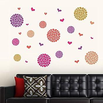 Decals Design 'Flower Pattern Motifs' Wall Sticker (PVC Vinyl, 60 cm x 90 cm, Multicolour)