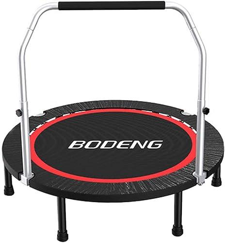 Trampoline, Trampoline d'exercice avec poignée réglable, rebordeur portable et Pliable pour Adultes, Charge 325KG