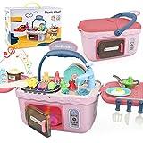 Dreamon Cucina Giocattolo per Bambini Giochi Cucina Accessori con Music Light, Regalo di Natale per Ragazza Ragazzo (Rosa)