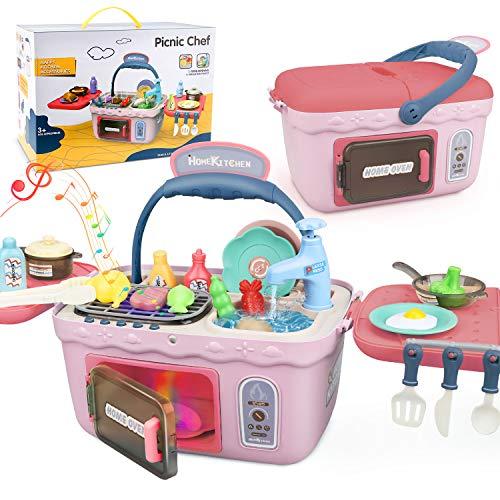 Dreamon Spielküche Spielzeug Kinderküche Zubehör Kochset Kinder Picknickkorb mit Musik Licht, Kinder (Rosa)