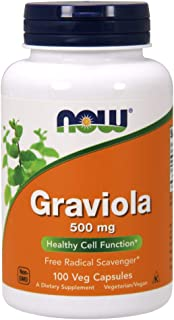 NOW Graviola 500mg, 100 Capsules (Pack of 2)