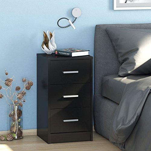 Praktisch nachtkastje MAJA in zwart hoogglans/nachtkastje voor boxspringbed met 3 laden - 37 x 68 x 35 cm commode