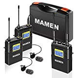 MAMEN 50-Channel UHF Wireless Lavalier Microphone System with 1 Receiver, 2 Transmitters, Dual Wireless Lapel Mics for iPhone DSLR Cameras (330' ft Audio Range)