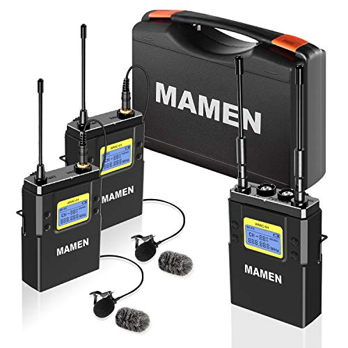 MAMEN Wireless Microphone System, 50-Channel UHF Wireless Lavalier Microphones with 1 Receiver, 2 Transmitters, Dual Wireless Lapel Mics for DSLR Cameras (330' ft Audio Range)