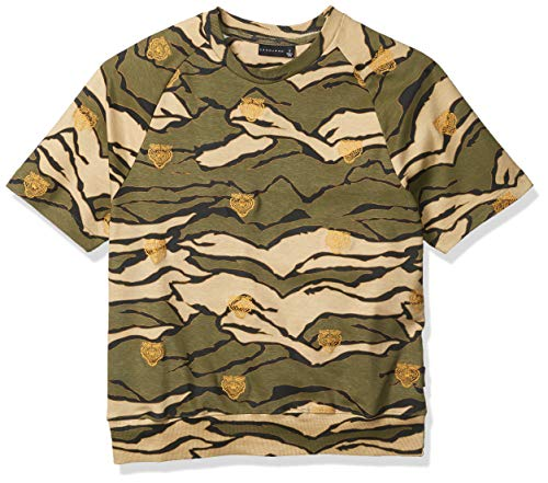 Sean John Herren Embrodiered Short Sleeve Sweatshirt Hemd, Tiger Camo, Medium