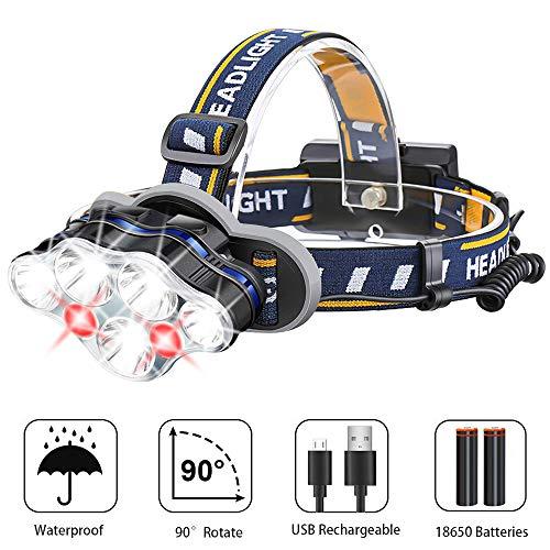 LED Stirnlampe USB Aufladbar mit SOS Rotlicht, Karrong Super Hell Leicht Wasserdicht Kopflampe, 8 Modi Perfekt für Arbeit Outdoor Camping Wandern Angeln