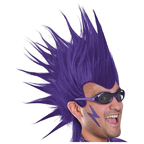 """amscan Party Perfect Team Spirit Crazy Mohawk Wig Accessory, Purple, Synthetic Fiber , 11"""" Costume"""