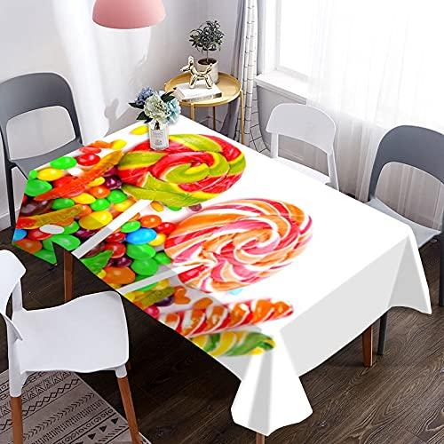 Mantel 3D, Mantel de Mesa Lavable con patrón de Caramelo y Caramelo Colorido, Adecuado para Cocina, Fiesta, decoración de Boda M-15 140x210cm