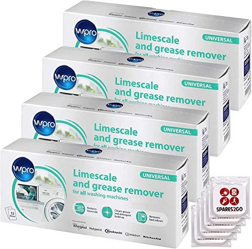 WPRO - Disincrostante per lavatrice e lavastoviglie, detergente anticalcare (48 bustine da 50 g + 5 deodoranti per armadietti della biancheria)