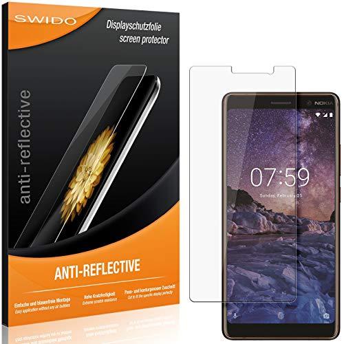 SWIDO Schutzfolie für Nokia 7 Plus [2 Stück] Anti-Reflex MATT Entspiegelnd, Hoher Festigkeitgrad, Schutz vor Kratzer/Folie, Bildschirmschutz, Bildschirmschutzfolie, Panzerglas-Folie