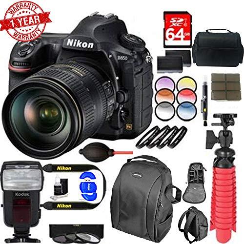 New Nikon D850 45.7MP Digital SLR Camera with 24-120mm VR Lens Dual Battery Accessory Bundle