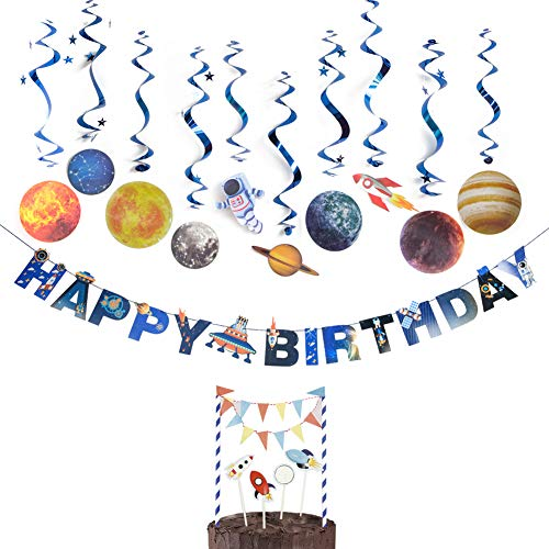 SUNBEAUTY Geburtstag Weltraum Dekoration Set UFO Girlande Planeten Spiralen Raumschiff Kuchendeko Kindergeburtstag Deko