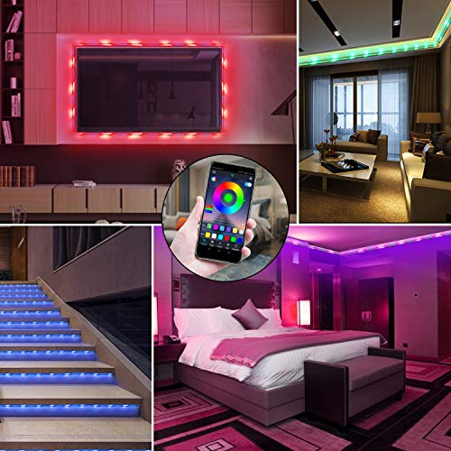 QZYL Led Lights for Bedroom,49.2 Feet Led Strip Lights,Music Sync Color Changing Flexible Rope Lights with Remote App Control Luces Led Strips Lights for Party Home Decoration 7