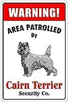 ケルンテリアの犬の看板がパトロールしたヴィンテージのレトロな金属看板の警告エリア屋内と屋外に簡単に取り付けられるプロ仕様のグラフィックが印刷されたアルミ錫の看板
