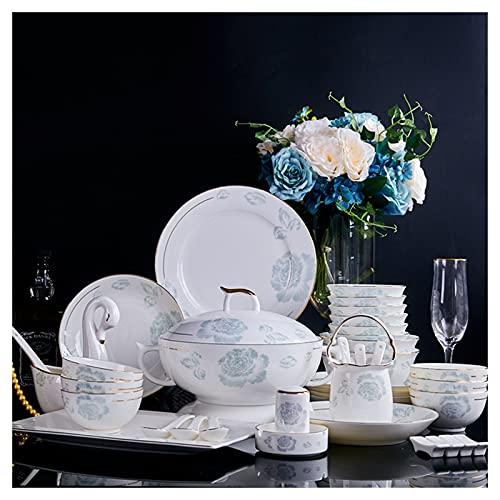 ZWJ Juego De Vajillas De Cerámica Conjunto De Combinación De Porcelana Azul Y Blanca Hermosa para La Cena del Hogar Hotel De La Boda