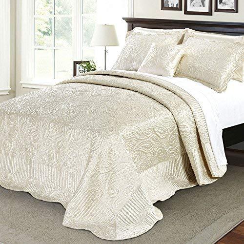 Serenta Quilted Satin 4 Piece Bedspread Set, Queen, Champagne