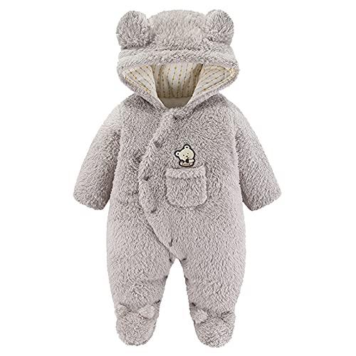 Forver Baby Boy Girl Snow Wear,Newborn Infant Baby Boys Girls Cartoon Bear Hooded Romper Fleece Jumpsuit Coat 9-12M