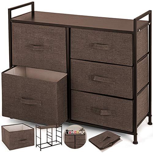 Happybuy Dresser Storage Tower with 5 Fabric Drawer Steel Frame Storage Cabinet Bin Storage Organizer Unit Fabric Cube Dresser Chest Cabinet Coffee Tall (Coffee/Tall)