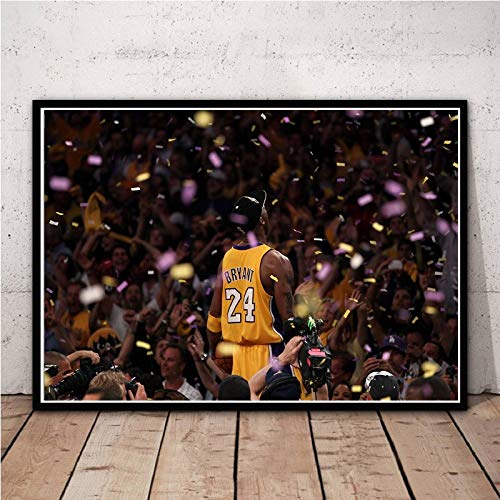 WIOIW NBA Basketball Sports Player Lakers Super Star Kobe Bryant Celebrate Champion MVP Canvas Painting Wall Art Poster Fans Camera da Letto Soggiorno Gym Club Home Decor