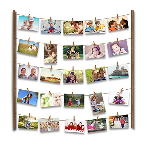 Uping Wand Bilderrahmen Hangit Fotorahmen Holzbilderrahmen Foto wäscheklammern mit 30 Kleinen Holzklammern Fotos Hängen