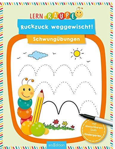 Lernraupe - Ruckzuck weggewischt! Schwungübungen: mit abwischbaren Stift   Lernheft mit Rätseln zum Immer-wieder-Machen