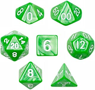 Wiz Dice 7 Die Polyhedral Dice Set - Imperial Gem (Marble Green) with Velvet Pouch
