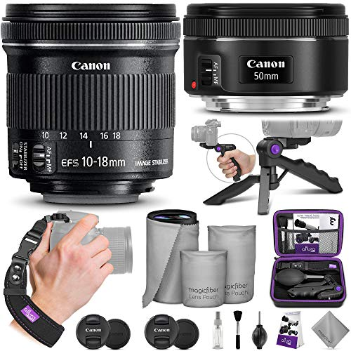 Canon 50mm f/1.8 STM and 10-18mm f/4.5-5.6 STM Lens with Altura Photo Essential Accessory Bundle