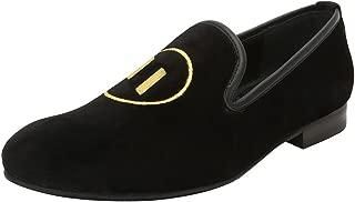 Bareskin Golden Play and Pause Design Embroidery Italian Cotton Velvet Slip-on Shoes for Men