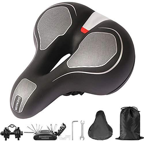 Aenamer Fahrradsattel, Memory Foam Gel Fahrrad Sattel für Herren Damen, Ergonomisch Wasserdichter Atmungsaktiver Fahrradsitz mit Fahrradreparaturwerkzeug und Schraubenschlüssel