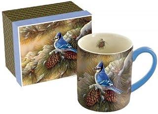"LANG - 14 oz. Ceramic Coffee Mug -""December Blue Jay"", Art by Rosemary Millette - Winter Snow, Pines"