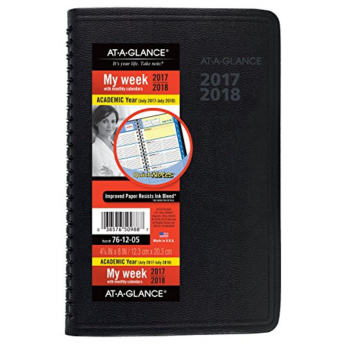 "AT-A-GLANCE Academic Weekly/Monthly Appointment Book/Planner, July 2017 - July 2018, 4-7/8"" x 8"", QuickNotes, Black (761205)"