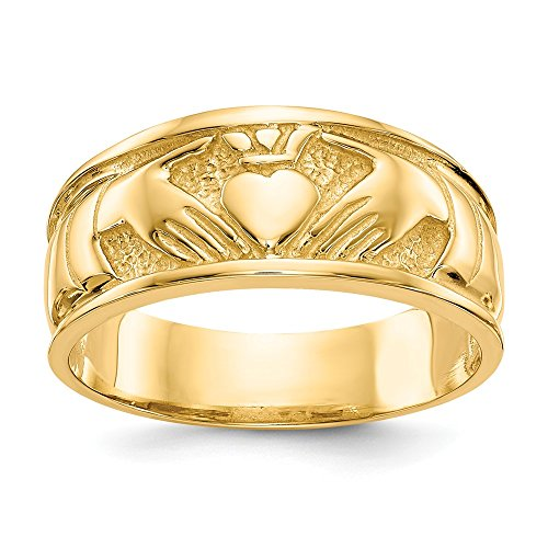 14k Yellow Gold Irish Claddagh Celtic Knot Wedding Ring Band Size 7.00 Fine Jewelry For Women Gifts For Her