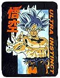 Seven Times Six Dragon Ball Super Goku Ultra Instinct Technique Soft and Plush Fleece Throw Blanket