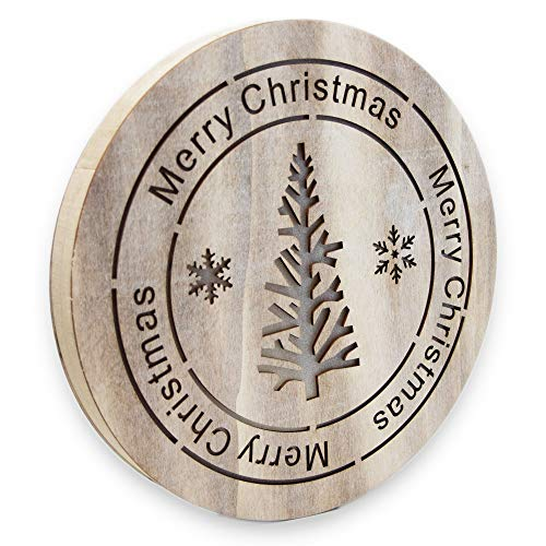 Kerstmis wandversiering van hout met LED-verlichting - verlichte kerstdecoratie met dennenboommotief voor feestelijke decoratie