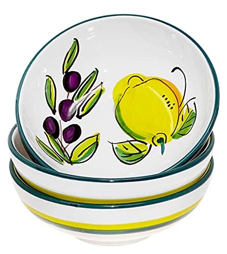 Lashuma Servierschüsseln rund Ø 14 cm, 3X Keramik Schalen klein, Dessertschalen Motiv: Zitrone Olive