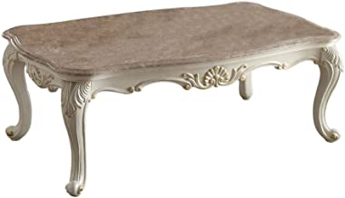 Acme Furniture 83540 Chantelle Coffee Table with Marble Top, Pearl