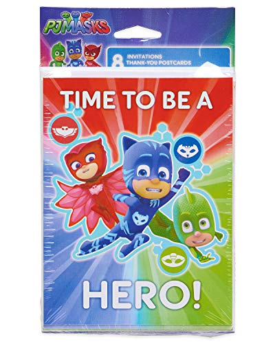 American Greetings PJ Masks Invite & Thank-You Combo Pack, 8-Count