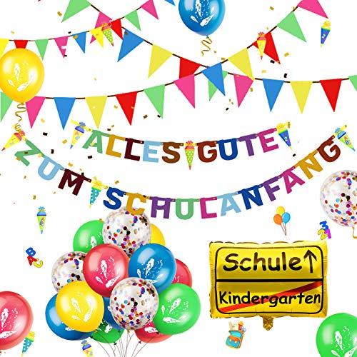 iZoeL Einschulung Deko Schulanfang Schuleinführung Girlande Alles Gute Zum Schulanfang + 40m Wimpelkette + 15 Luftballon + Konfetti + Folienballon für Jungen Mädchen (Bunte Alles Gute)