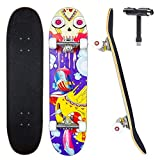 JECOLOS Pro Skateboard Complete 7 Layers Deck 31'x8' Skate Board Maple Wood Longboards for Adults Teens Youths Beginners Girls Boys Kids (Sky)