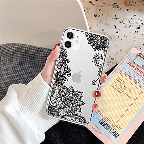 LIUYAWEI Funda de teléfono Transparente Suave de TPU para iPhone 11 Pro MAX X XR XS MAX 6 6S 7 8 Plus 5 5S SE 2020 Nueva Contraportada de Flor de Vid, Negro, para iPhone 11pro MAX