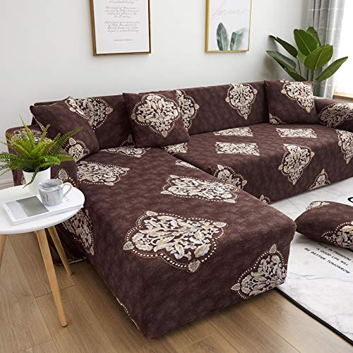 SSHHJ European-Style Fashion Printed Sofa Cover, Polyester Fabric Non-Slip And Wrinkle-Resistant Sofa Chair Cover, Dirt-Resistant And Good Cleaning Protection, Home Sofa Cushion, Sofa Decoration