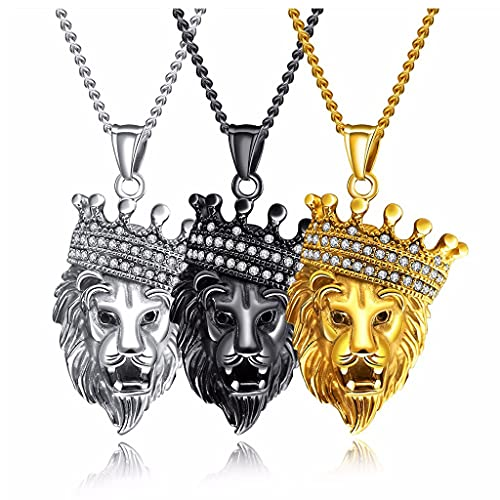 Collar Colgante de la Cabeza de león para Hombre de Acero Inoxidable 3 unids con un Trigo del Cable de Oro de Plata de la Cadena de Plata de 24,4'Pulgadas
