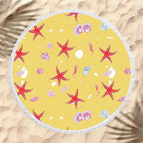 Dikke Terry Ronde Strandhanddoek Beach Roundie Circle Picknick Tapijt Yoga Mat Met Kwastje H