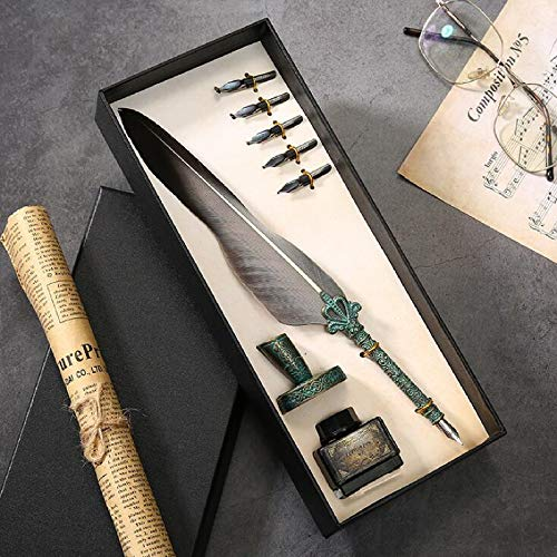 Julymoda Retro Quill - Juego de bolígrafos de caligrafía, pluma estilográfica, con tinta y portalápices (gris)