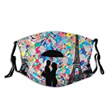ETHAICO Fillter Cloth for Unisex,Silhouette of A Loving Couple Under Umbrella The Eiffel Tower On The Background,Reusable Windproof Cloth Half Face Double Protection
