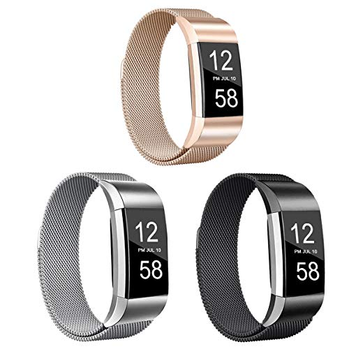 Valband 3 Pack Replacement Bands Compatible with Fitbit Charge 2, Stainless Steel Metal Lock Replacement Wristban with Unique Magnet Clasp (Small)