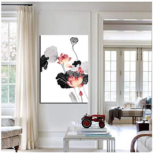 NIESHUIJING druk op canvas HD traditionele Chinese kalligrafie schilderij roze lotusblad kunst wandschilderij voor woonkamer bank decoratie 23,6