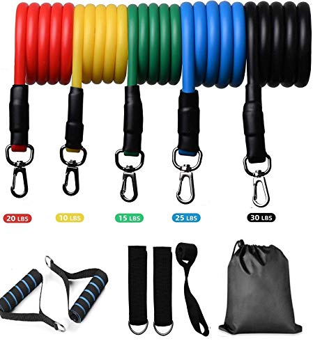 LALA LIFE SGL Latex Resistance Stack-able Bands with Waterproof Carrying Case, Door Anchor Attachment, Legs Ankle Straps and Exercise, Set of 5