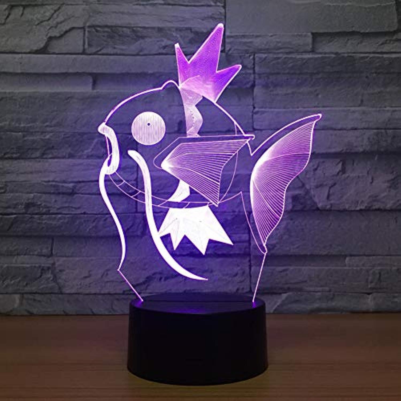 Fdlzz Fisch 3D Nachtlicht Baby Neben Lampe Fernbedienung Einstellbar 7 Farbe Touch Led Schreibtischlampe Geburtstagsgeschenk,Berührungsschalter