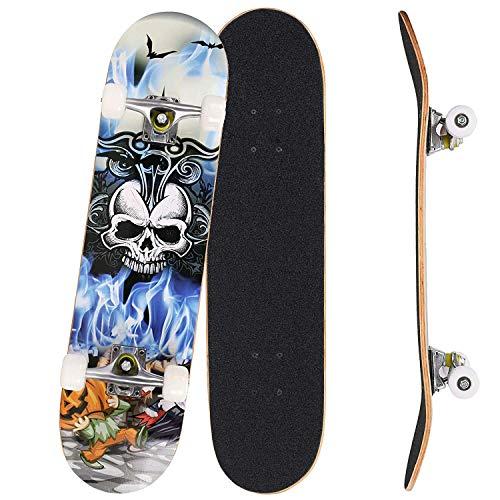 Outcamer - Tavola da skateboard, 31 x 20 cm, in legno d'acero canadese a 9 strati, per principianti, regalo di compleanno per adulti e bambini dai 5 anni in su., Testa di teschio